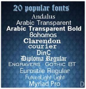 20 Popular Fonts